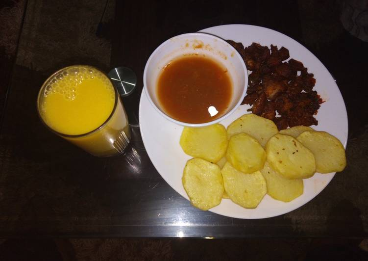 Steps to Make Super Quick Homemade Deep fried potatoes with fried meat n passion juice
