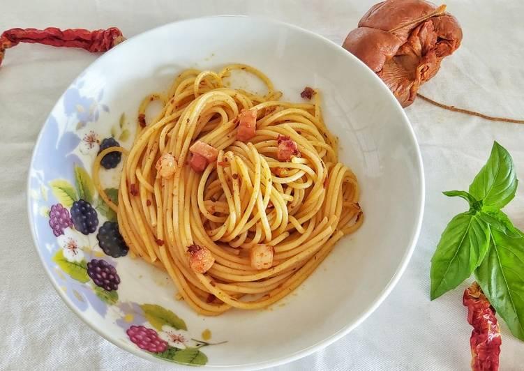 Ricetta Spaghetti nduja e pancetta