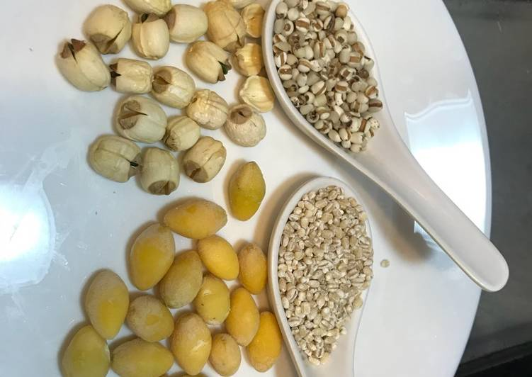 What are some Dinner Easy Blends Barley/Coix seeds/Job's tears drink with ginkgo nut (银杏果) and white lotus seed (白莲子)