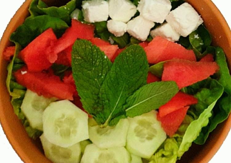 Recette: Appétissant Salade pastèque, concombre, féta