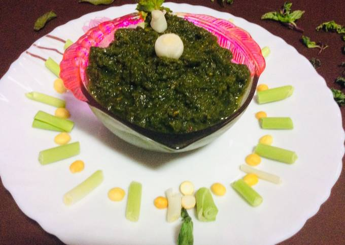 Green garlic mint leaves coriander chutney green chutney