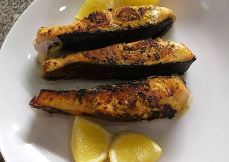 Easiest Way to Prepare Yummy Pan grilled Salmon with tropical marinate