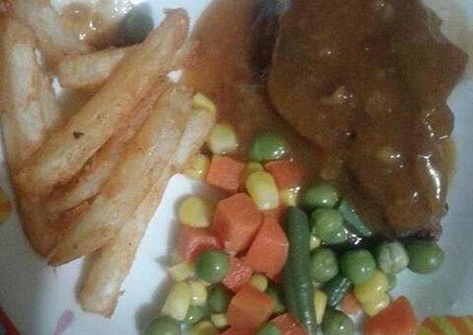Steak daging sapi barbeque