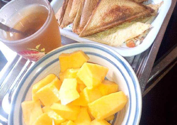 How to Cook Delicious Toast bread n green tea with pawpaw #pizzasok