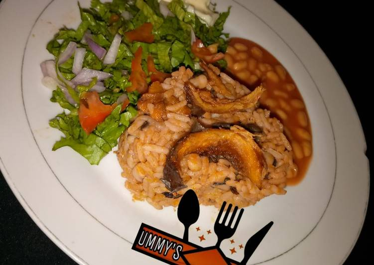 Easiest Way to Make Delicious Jollof Rice & Beans, wif salad