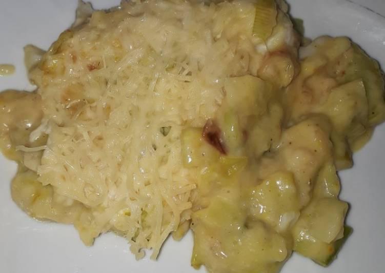 Comment Servir Gratiné de poisson, poireaux et moutarde