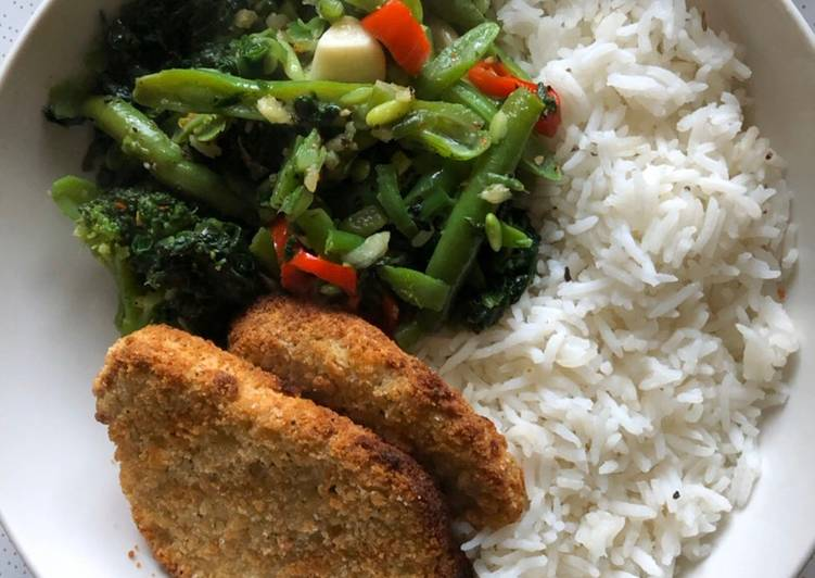 Simple Way to Prepare Perfect Chicken Fillets with greenish vegetable lunch