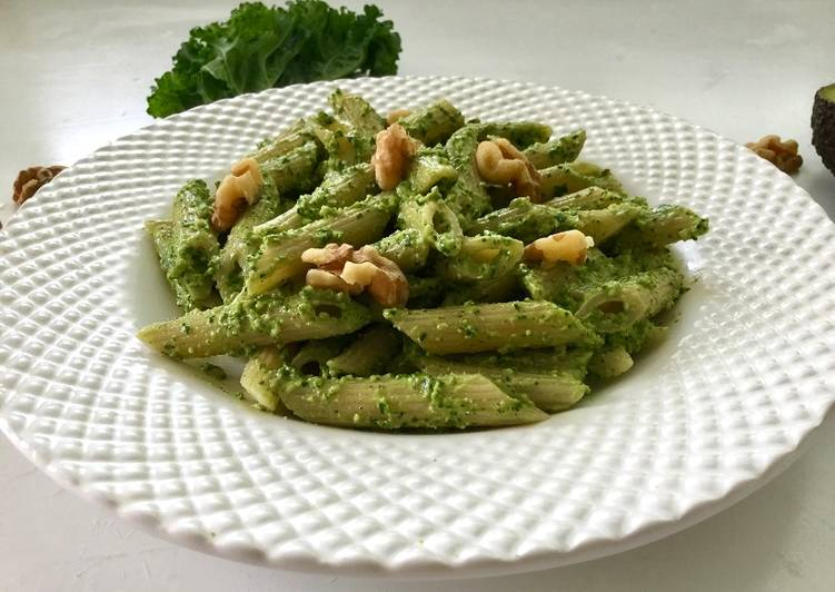 Easiest Way to Cook Delicious Vegan kale and avocado pesto pasta