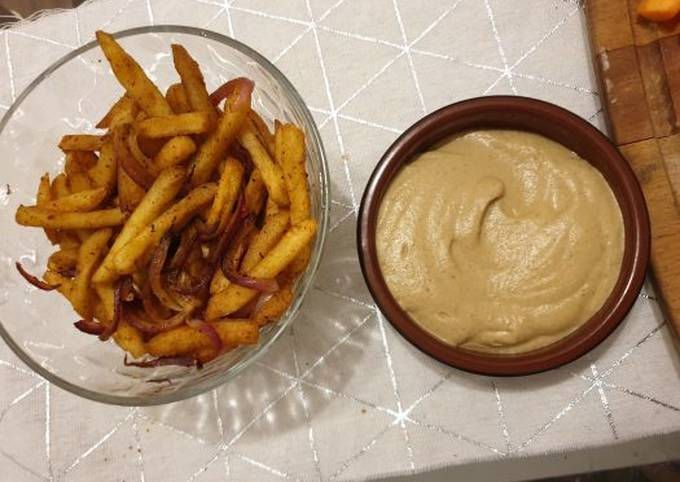 Baked Batata Harra fries with Baba Ganoush