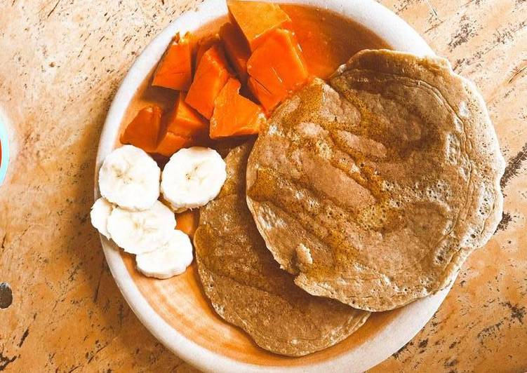 Tortitas healthy con papaya y plátano