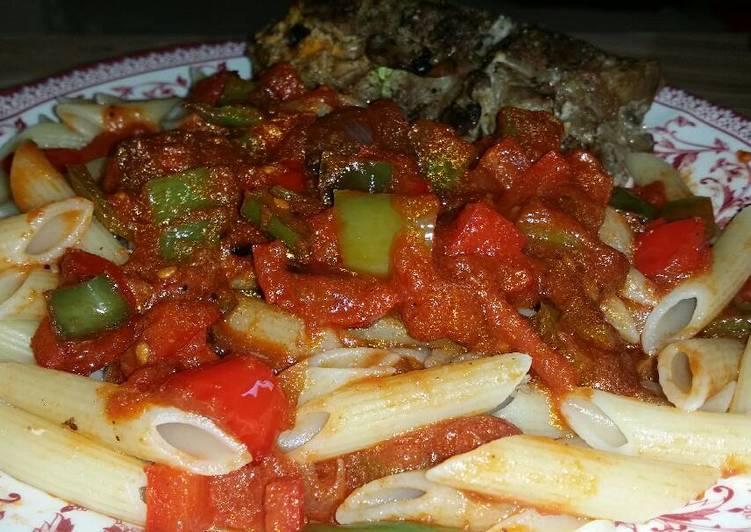 Recipe of Perfect Stuffed meat & bell pepper pasta