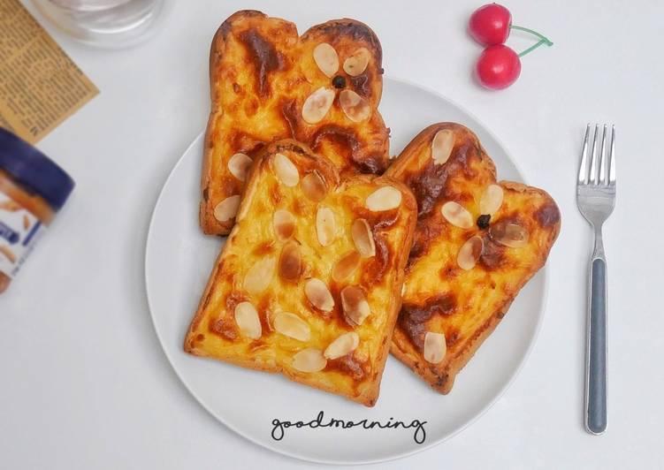 Almond Cheese Toast / Roti Tawar Panggang Keju Enak