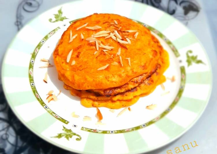 Eggless Carrot and Almond Pancakes
