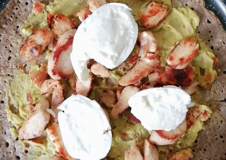 La Meilleur Recette De Galette sarazin, guacamole maison, poulet, mozarella