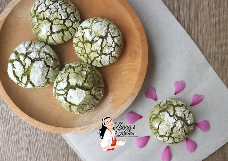 Matcha Crinkle Cookies (Cookies Retak)