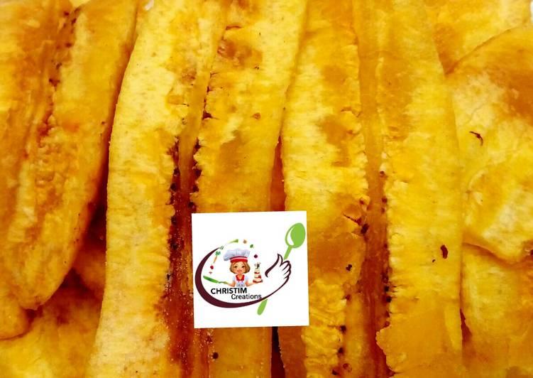 Halfdone plantain chips