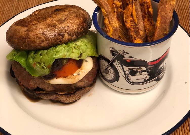 """Steps to Prepare Favorite Venison burger in a portobello mushroom """"bun"""" 🍔🍟"""