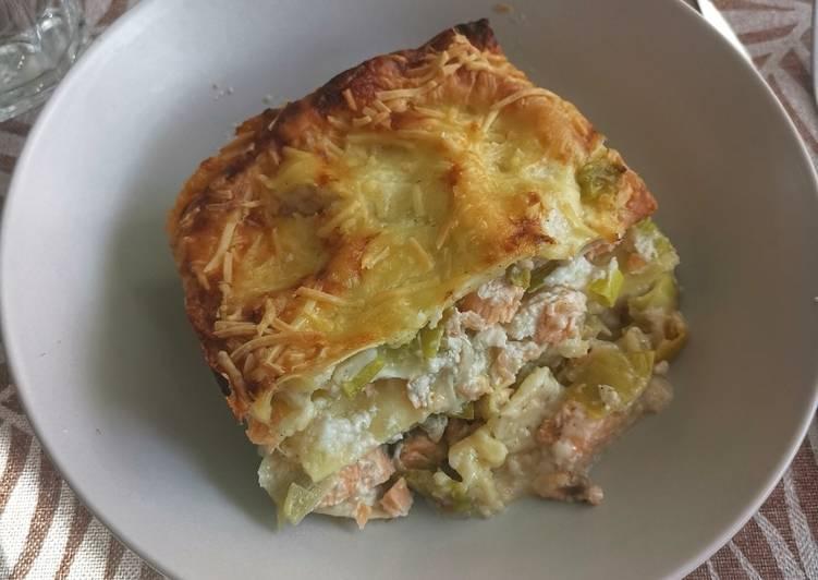 Délicieux Lasagne aux poireaux et saumon