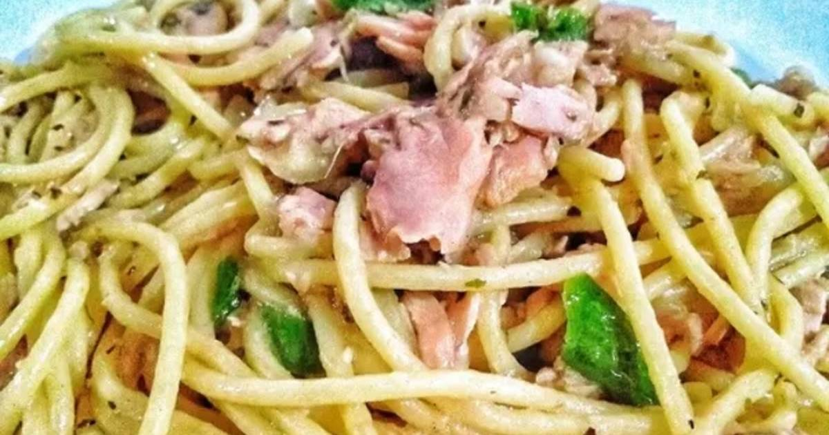 Resep Spaghetti Tuna Cabe Ijo Oleh Nyonya Ardhi Cookpad