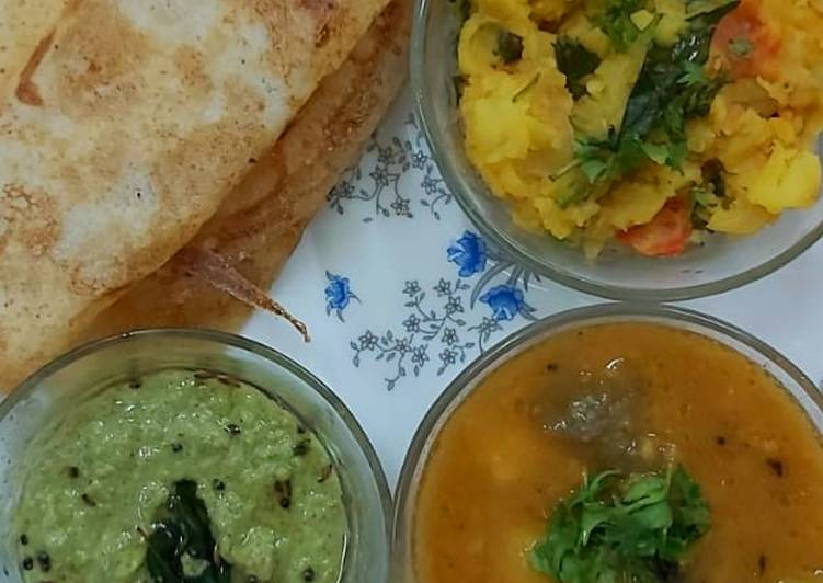 Recipe of Perfect South Indian cuisine platter(dosa,sambar,chutney,potato veggie)