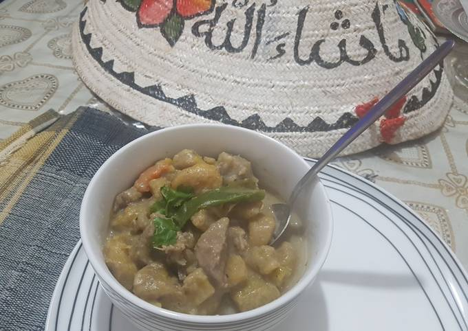 Plantene,lamb and coconut soup