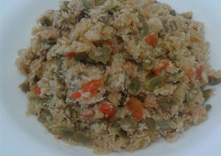 Bothok Melanding + Udang (masak tanpa bungkus daun)