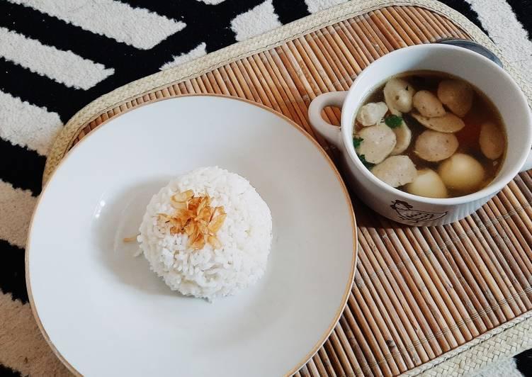 Sup bakso, wortel, sosis cepat dan gampiill