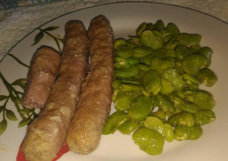 Fave fresche con salsicce ricetta light
