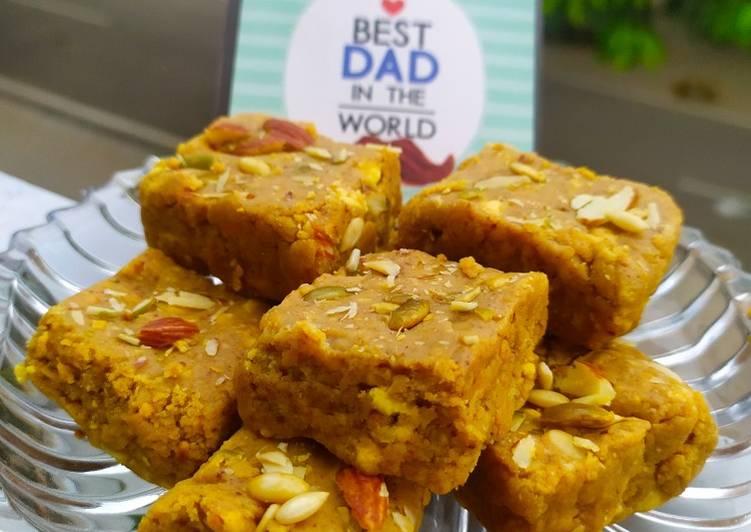 Besan Barfi (made with gram flour, Milk powder & condensed milk)