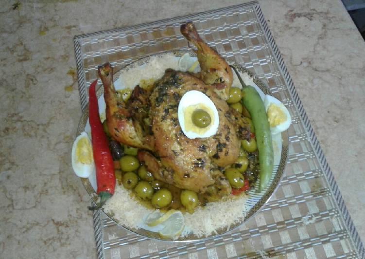 Poulet rôti Ala moutarde au olive