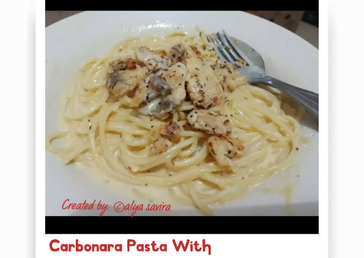 Spaghetti Carbonara with dori fish