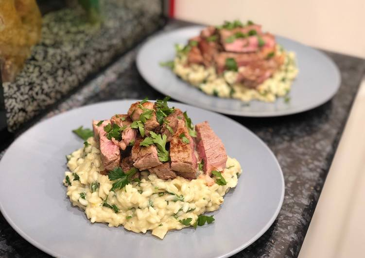 Recipe of Quick Steak with blue cheese risotto 🥩🧀