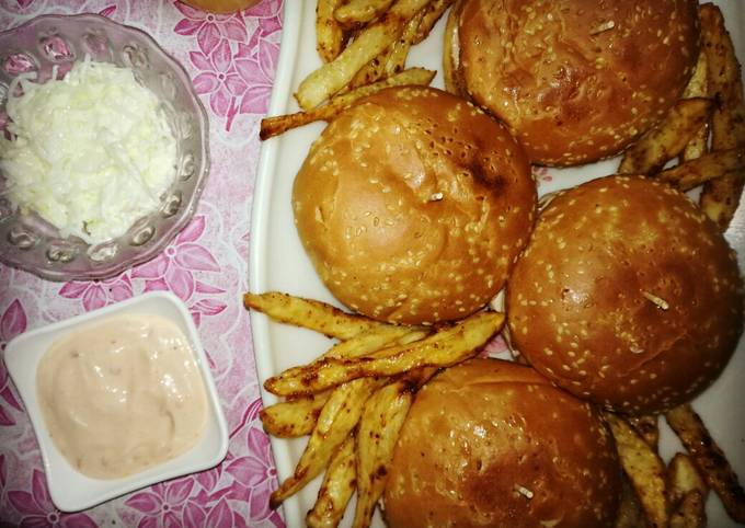 Chicken Burgers with garlic mayo sauce,coleslaw and french fries
