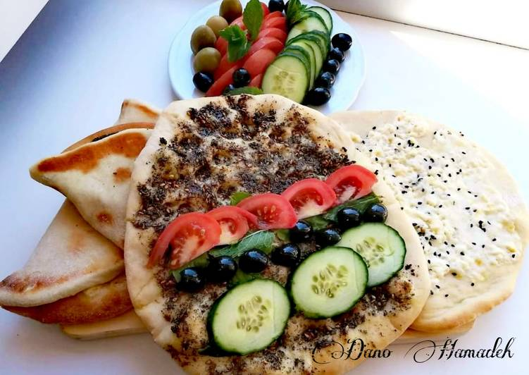 Simple Way to Prepare Favorite Manaich zaater (thyme) & cheese, Lebanese pizza,