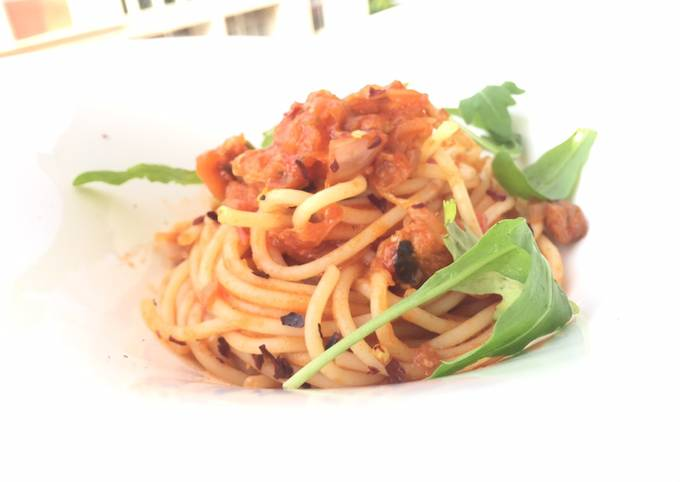 Spaghetti With Herring And Sauerkraut In Tomato Sauce