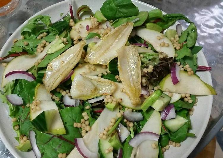 Pear and pearl cous cous salad w' baby fish fillets
