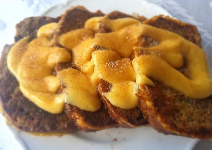 Breakfast pudding, Banana bread french toast and custard