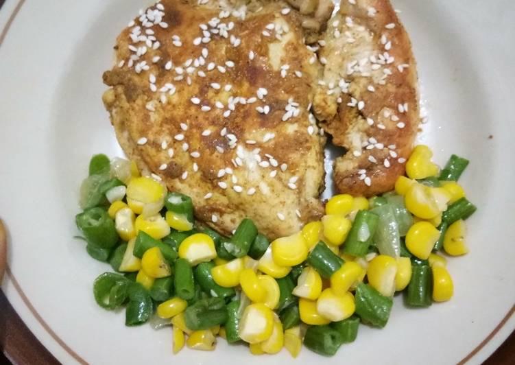 Resep Menu diet : Ayam Panggang bumbu kari (pakai teflon) Yang Mudah Endes