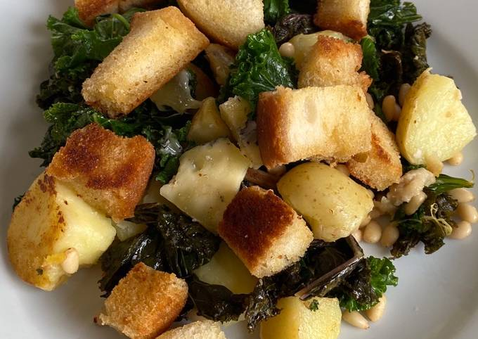 Cornish new potatoes with kale, Buttered croutons, pine nuts and Cornish blue cheese
