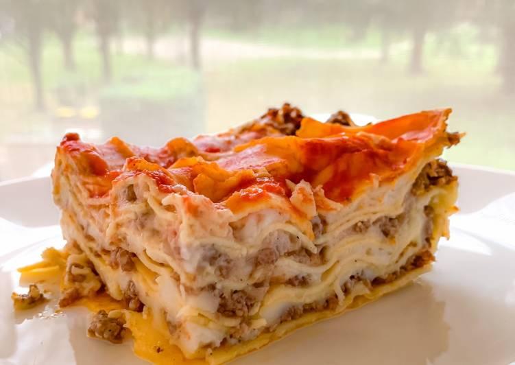 Recette Appétissante Lasagnes à la bolognaise (béchamel sans fromage)