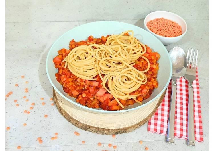 Linsenbolognese mit Vollkornspaghetti