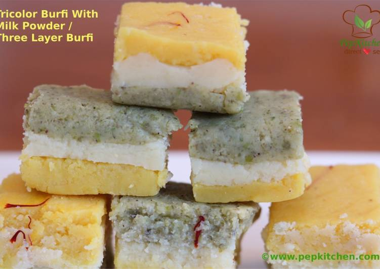 Tricolor Burfi With Milk Powder / Three Layer Burfi