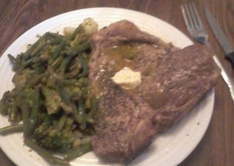 T-Bone Steak w/Lemon Herb Butter and Vegetable Medley