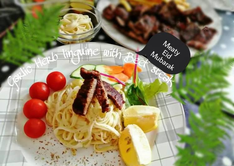 Garlic Herb linguine with Beef steak