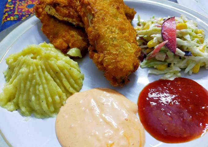 Recipe of Jamie Oliver Fried fish restaurant style with salad,mash potato and dips