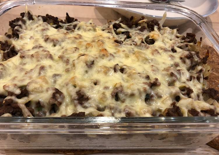 Baked Rice with Cheese and minced meat
