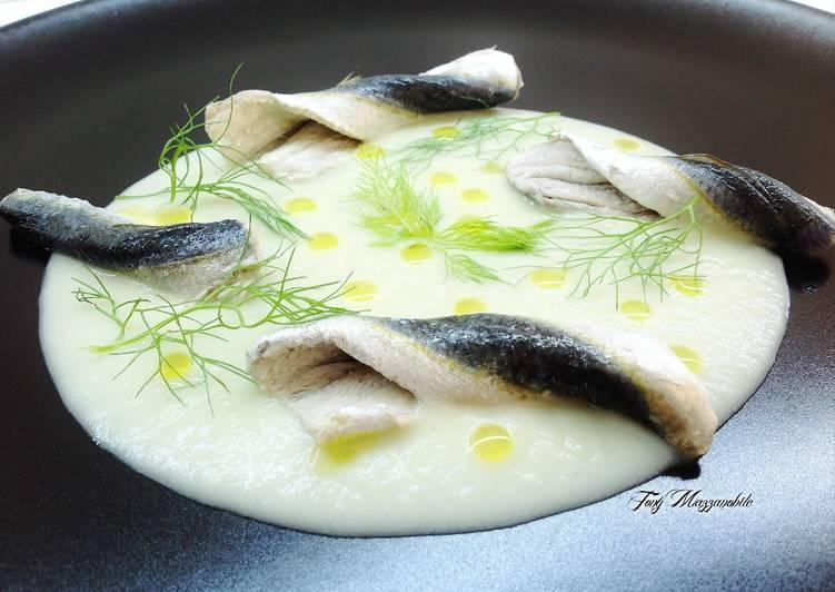 Ricetta Alici marinate su crema di finocchio