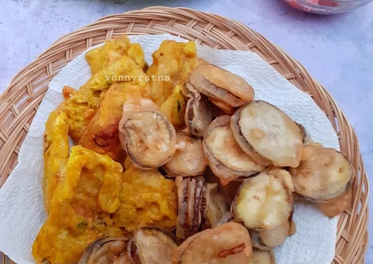 Tempe Terong goreng tepung dan Tumis Kangkung