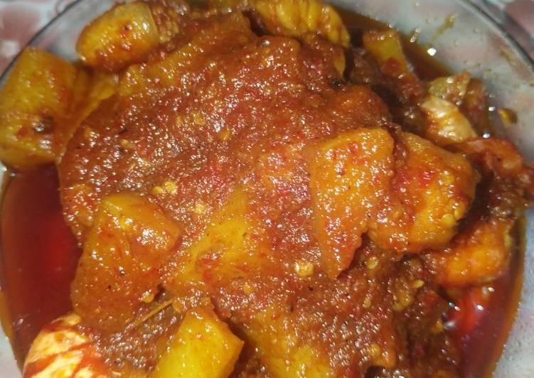 Balado udang tempe kentang