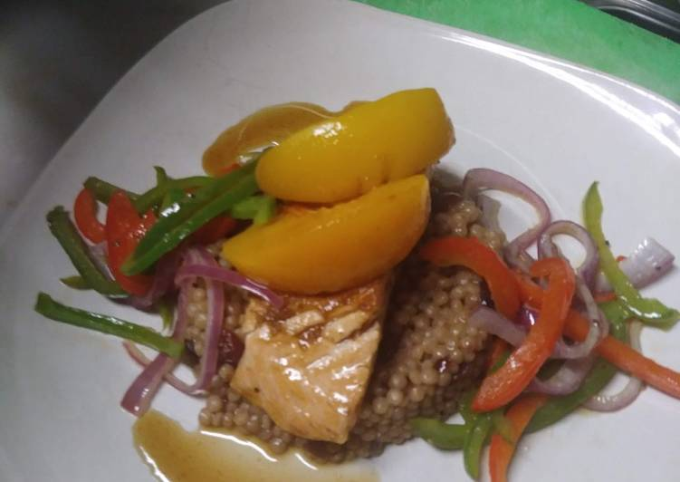 Peach Bourbon Salmon w/ Cranberry Cous cous and Vegetable Medley